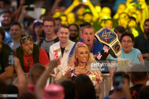 WWE SummerSlam Carmella victorious with belt during event at Barclays Center Brooklyn NY CREDIT Rob Tringali
