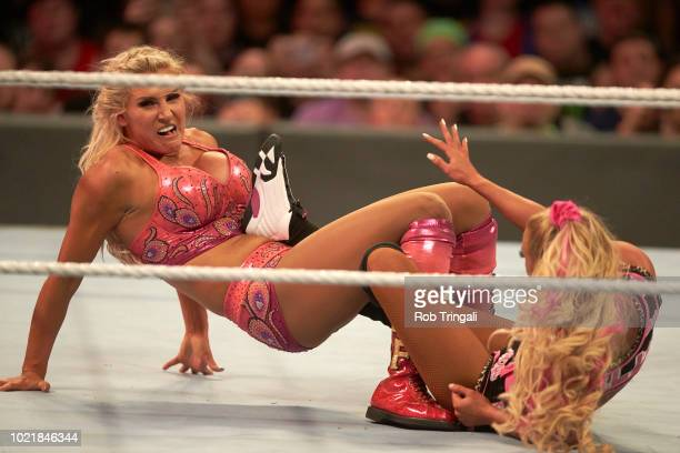 WWE SummerSlam Charlotte Flair in action vs Carmella during match at Barclays Center Brooklyn NY CREDIT Rob Tringali