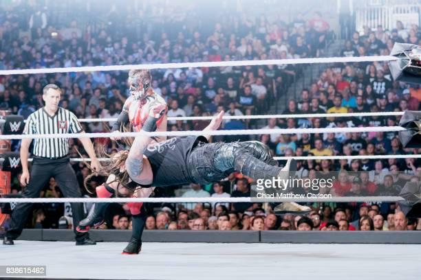 WWE SummerSlam Finn Balor in action vs Bray Wyatt during match at Barclays Center Brooklyn NY CREDIT Chad Matthew Carlson