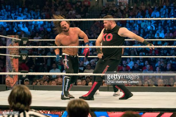 WWE SummerSlam Kevin Owens in action vs AJ Styles during match at Barclays Center Brooklyn NY CREDIT Chad Matthew Carlson