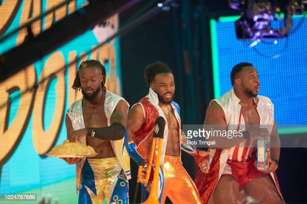 WWE SummerSlam Kofi Kingston Big E and Xavier Woods approach the ring during event at Barclays Center Brooklyn NY CREDIT Rob Tringali