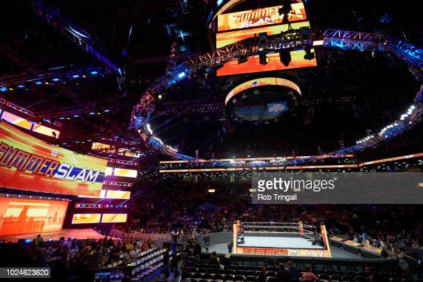 WWE SummerSlam Overall view of ring and arena during event at Barclays Center Brooklyn NY CREDIT Rob Tringali