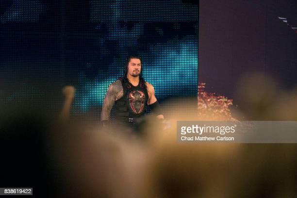 WWE SummerSlam Roman Reigns before match at Barclays Center Brooklyn NY CREDIT Chad Matthew Carlson