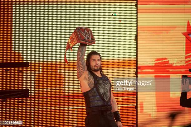 WWE SummerSlam Roman Reigns entering the arena with his belt before Universal Championship match vs Brock Lesnar at Barclays Center Brooklyn NY...