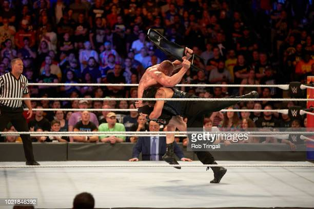 WWE SummerSlam Roman Reigns in action vs vs Brock Lesnar during Universal Championship match at Barclays Center Brooklyn NY CREDIT Rob Tringali