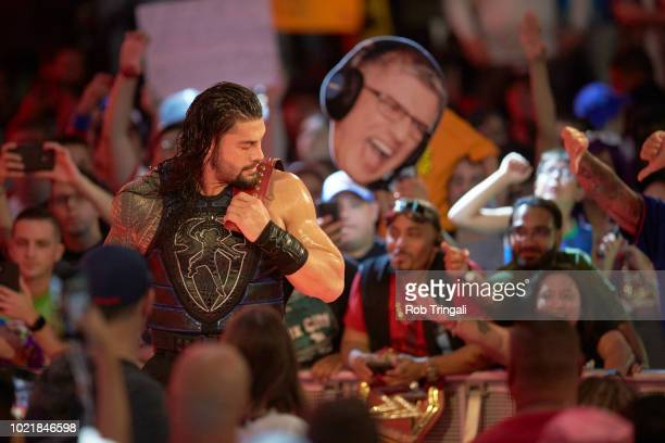 WWE SummerSlam Roman Reigns in ring before Universal Championship match vs Brock Lesnar at Barclays Center Brooklyn NY CREDIT Rob Tringali