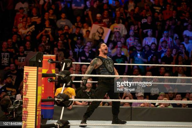 WWE SummerSlam Roman Reigns victorious during Universal Championship match vs Brock Lesnar at Barclays Center Brooklyn NY CREDIT Rob Tringali