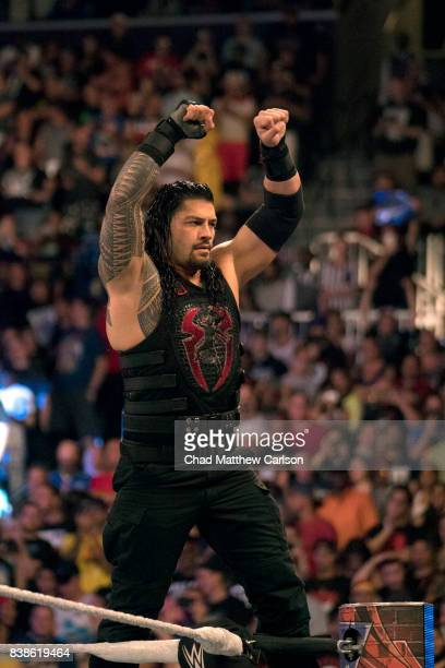 WWE SummerSlam Roman Reigns victorious during match at Barclays Center Brooklyn NY CREDIT Chad Matthew Carlson