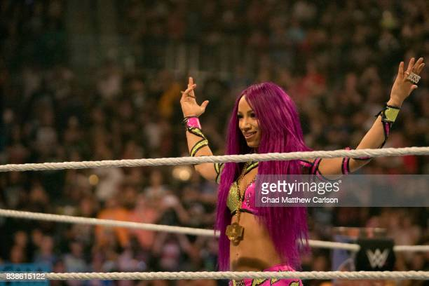 WWE SummerSlam Sasha Banks making entrance before match Alexa Bliss at Barclays Center Brooklyn NY CREDIT Chad Matthew Carlson