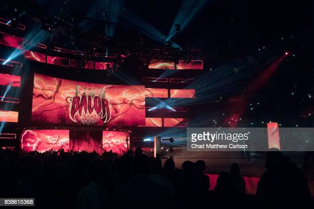 WWE SummerSlam View of scoreboard that reads FINN BALOR during his entrance before match vs Bray Wyatt at Barclays Center Brooklyn NY CREDIT Chad...