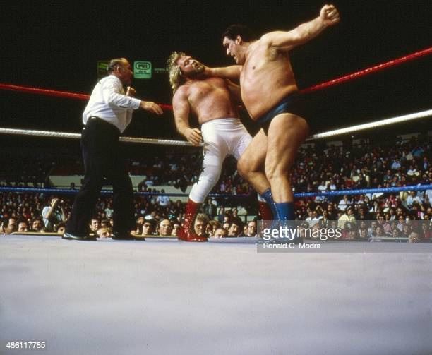 WWF WrestleMania I Andre the Giant in action vs Big John Studd during match at Madison Square Garden New York NY 3/31/1985CREDIT Ronald C Modra
