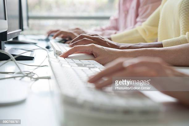 professionals using desktop computers in training class, cropped - input device stock photos and pictures