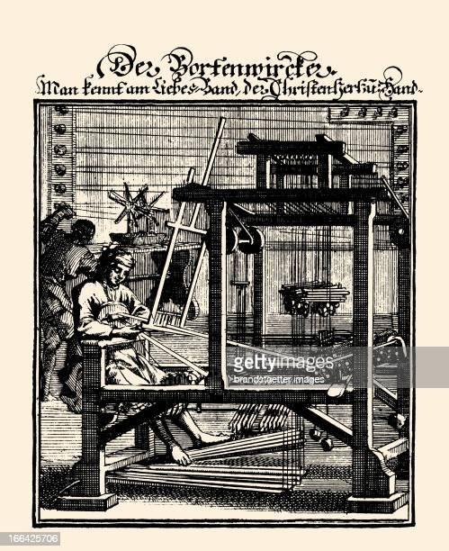 Professions Bassementer Etching by Christoph Weigel From Abbildung der GemeinNuetzlichen HauptStaende Regensburg 1698 Berufe Der Bortenwircker...
