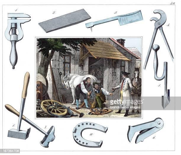 Blacksmith. From: 30 Werkstaetten von Handwerkern. Schreiber: Eßlingen. Colored Lithograph. About 1860. Berufe: Hufschmied. Aus: 30 Werkstätten von...