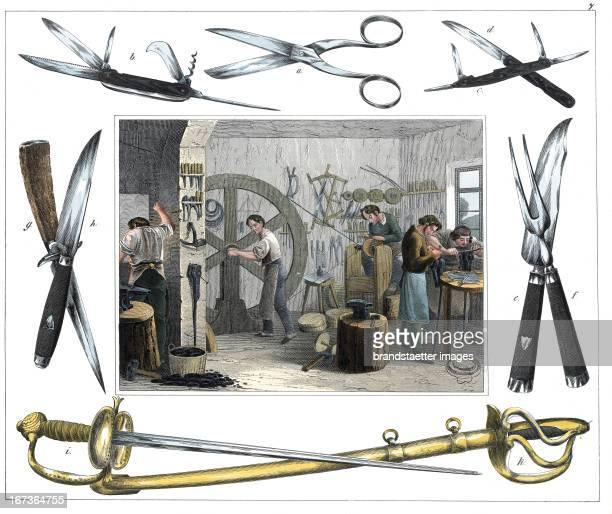 Cutler From 30 Werkstaetten von Handwerkern Schreiber Eßlingen Colored Lithograph About 1860 Berufe Messerschmied Aus 30 Werkstätten von Handwerkern...