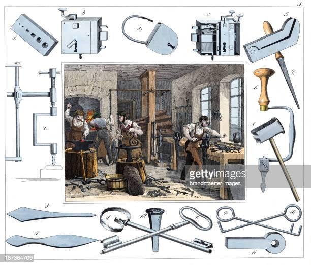 Locksmith From 30 Werkstaetten von Handwerkern Schreiber Eßlingen Colored Lithograph About 1860 Berufe Schlosser Aus 30 Werkstätten von Handwerkern...