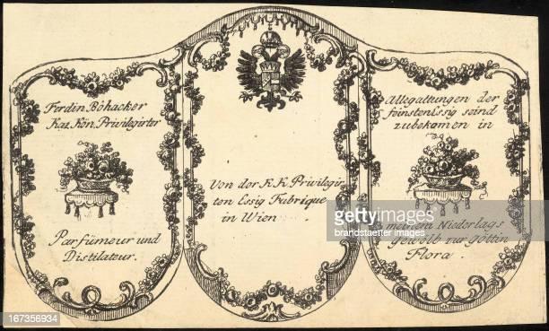Professions Perfume label from the company Ferdin Böhacker About 1810 Copper etching Berufe ParfumEtikett von Ferdin Böhacker KaiKön Privilegirter...