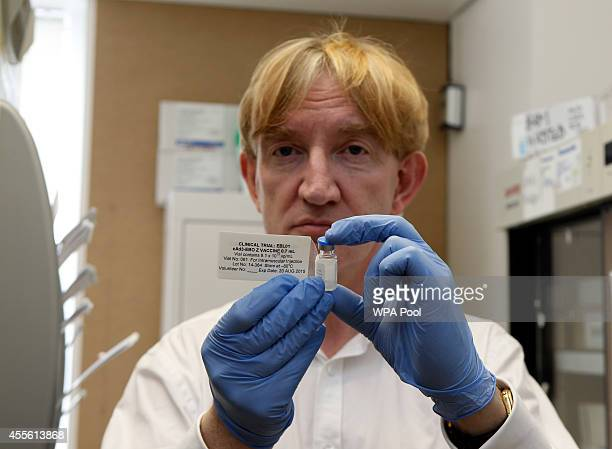 Professor Adrian Hill, Director of the Jenner Institute, and Chief Investigator of the trials with the ebola vaccine called Chimp Adenovirus type 3 ,...