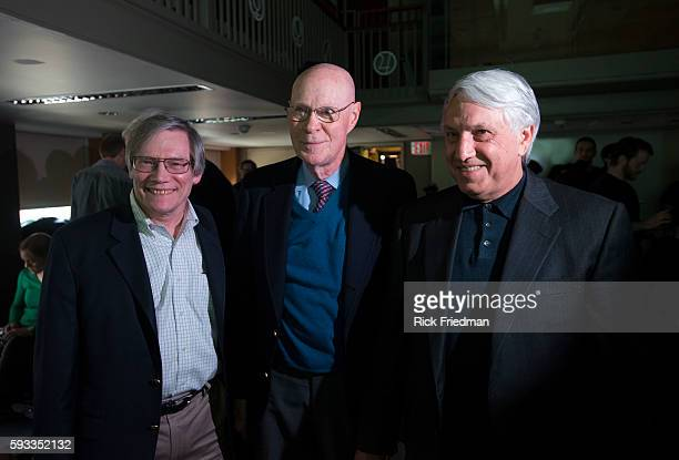 Professor Alan Guth of MIT Robert Wilson of Harvard and Andrei Linde of Stanford speaking about a new discovery of the Big Bang Theory at the...