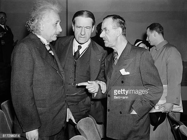 Professor Albert Einstein, Rabbi Stephen Wise, and Thomas Mann, noted author and exile from Nazi Germany, are pictured as they attended the preview...