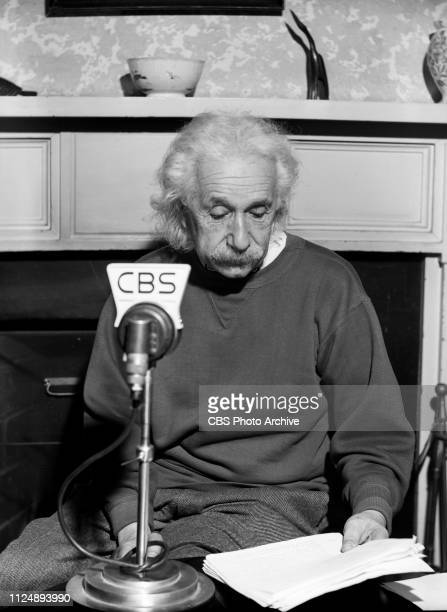 Professor Albert Einstein sits at a CBS Radio microphone and speaks about the atomic age and Operation Crossroads the United States nuclear weapon...