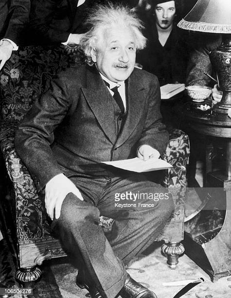 Professor And Mathematician Of German Origin Albert Einstein Telling The Journalists How He Discovered The Relativity Theory At The Annual Meeting Of...