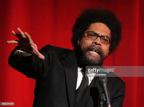 Professor and Social Activist Cornell West introduces Presidential Candidate Barack Obama during a campaign fundraiser held at the Apollo Theater on...