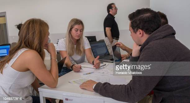 Professor and students in class at NOVA School of Business and Economics new campus on October 04 2018 in Carcavelos Portugal Nova SBE is a leading...