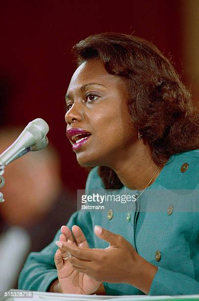 Professor Anita Hill testifies before the Senate Judiciary Committee on the nomination of Judge Clarence Thomas to the US Supreme Court