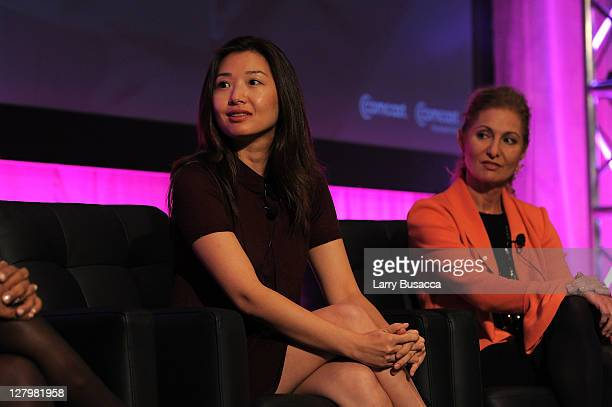Professor at Harvard Law School Jeannie Suk and President and General Manager of WE tv Kim Martin speak on a panel during the 2011 WICT Leadership...