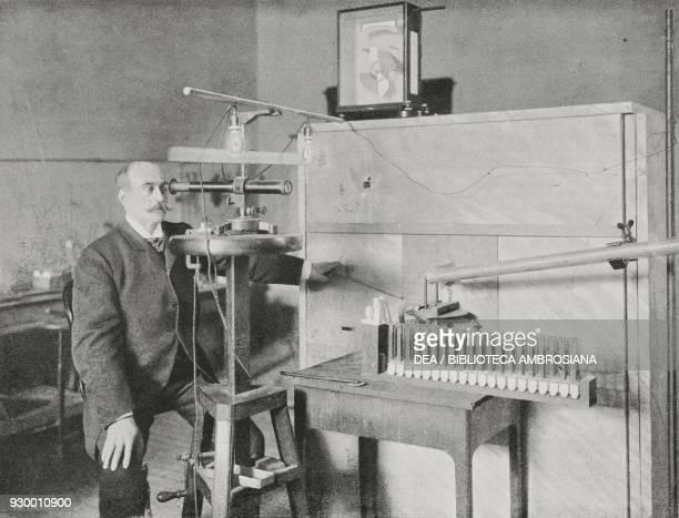 Professor Augusto Righi in his workshop in Bologna Italy from L'Illustrazione Italiana Year XXX No 9 March 1 1903