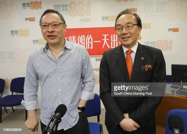 Professor Benny Tai Yiuting and Civic Party chairman Alan Leong Kahkit attend a radio programme on the jailing of three Occupy activists at...