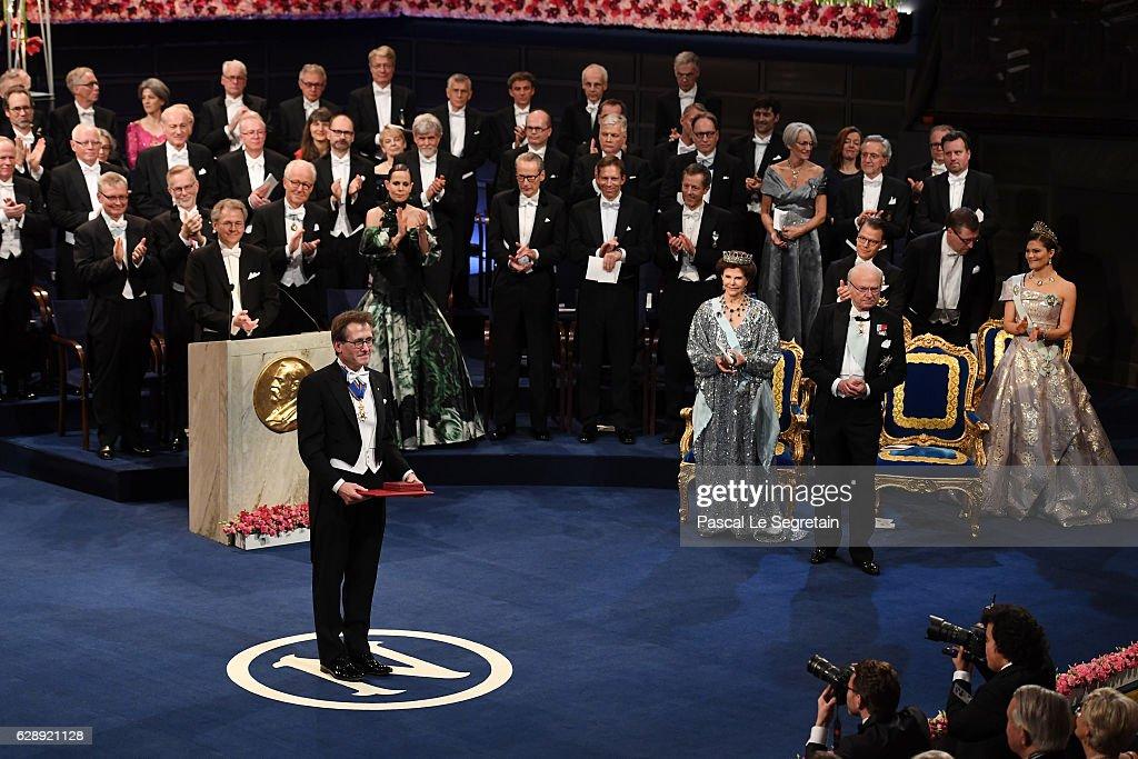 Professor Bernard L. Feringa, laureate of the Nobel Prize in Chemistry acknowledges applause after he received his Nobel Prize from King Carl XVI Gustaf of Sweden during the Nobel Prize Awards Ceremony at Concert Hall on December 10, 2016 in Stockholm, Sweden.