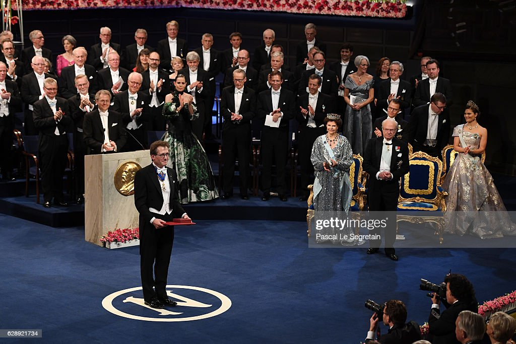 Professor Bernard L. Feringa, laureate of the Nobel Prize in Chemistry acknowledges applause after he received his Nobel Prize from King Carl XVI Gustaf of Sweden during the Nobel Prize Awards Ceremony at Concert Hall on December 10, 2016 in Stockholm, Sweden.