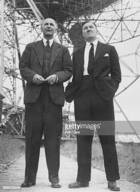 Professor Bernard Lovell and Charles Husband in front of the Jodrell Bank radio telescope during its unveiling at a press conference Cheshire 26th...