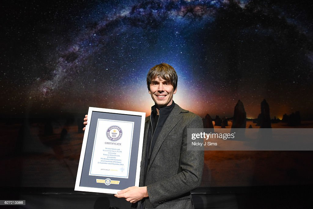 Professor Brian Cox Achieves Guinness World Records Title For Most Tickets Sold For A Science Tour... : News Photo