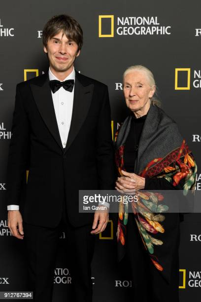 Professor Brian Cox and Dr Jane Goodall arrive for the National Geographic 'An Evening Of Exploration' celebrating 130 years of National Geographic...