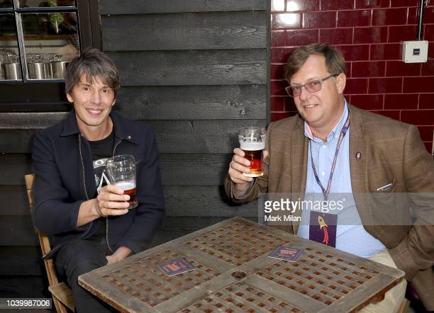Professor Brian Cox discovers the world of brewing as he launches 'Cosmic Brew' with William LeesJones and Ariel LeesJones at The Union Club on...