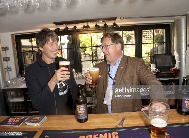Professor Brian Cox discovers the world of brewing as he launches 'Cosmic Brew' with Michael LeesJones at The Union Club on September 25 2018 in...