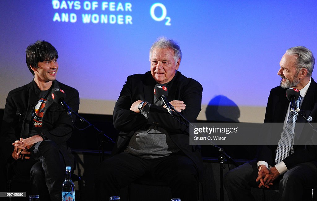 Professor Brian Cox, Keir Dullea and Gary Lockwood attend a panel discussion prior to a screening of '2001: A Space Odyssey', presented by the BFI For BBC Radio 3 at BFI Southbank on November 30, 2014 in London, England.
