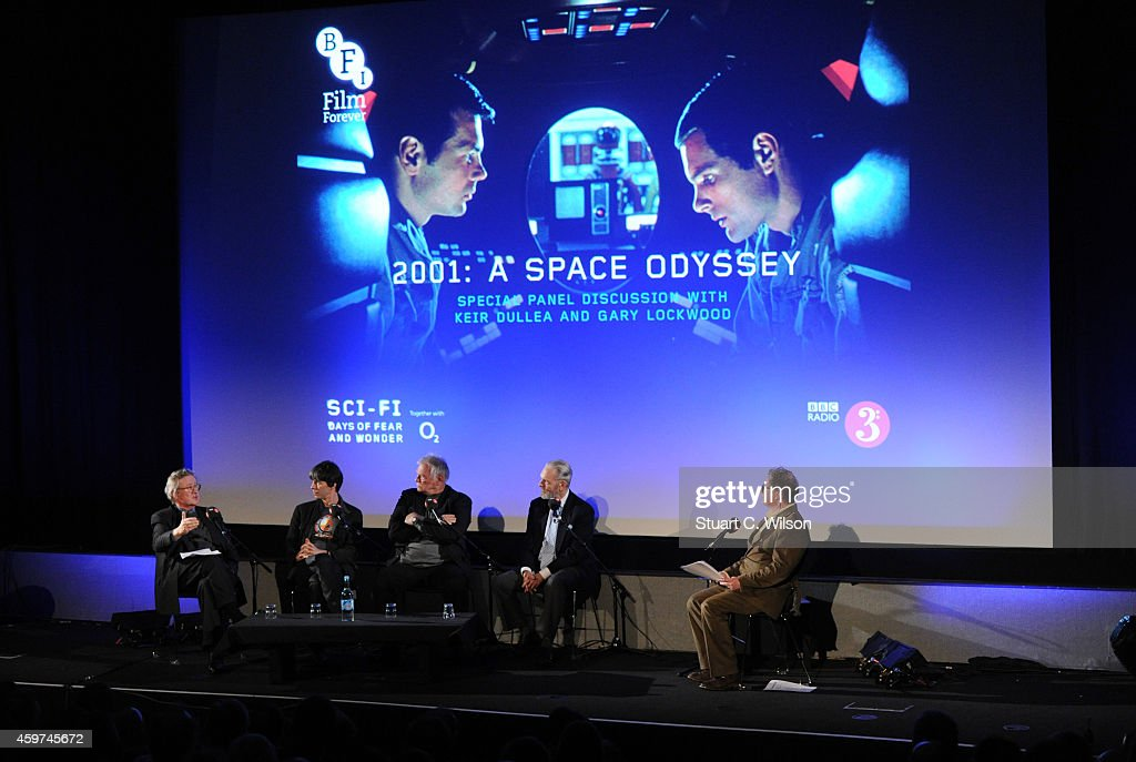 Professor Brian Cox, Matthew Sweet, Keir Dullea, Christopher Frayling and Gary Lockwood attend a panel discussion prior to a screening of '2001: A Space Odyssey', presented by the BFI For BBC Radio 3 at BFI Southbank on November 30, 2014 in London, England.
