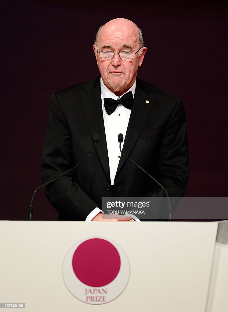 Professor C. Grant Wilson of the US makes a speech during the awards ceremony for the Japan Prize in Tokyo on April 24, 2013. Willson and his compatriot, Professor Jean M. J. Frechet, were jointly awarded the prize in the materials and production field to develop chemically amplified resistant polymer materials for the innovative semiconductor manufacturing process. The Japan Prize is awarded annually to scientists and engineers from around the world who have made significant contributions to the advancement of science and technology, furthering the cause of peace and prosperity. AFP PHOTO/Toru YAMANAKA