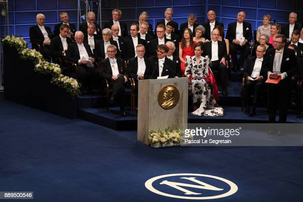Professor Carlos Ibanez introduces the Nobel Prize in physiology or medicine during the Nobel Prize Awards Ceremony at Concert Hall on December 10...