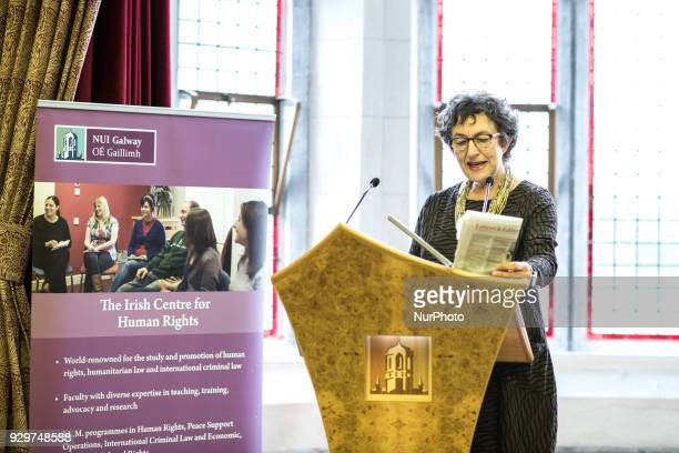 Professor Carol Sangler Barbara Aronstein Black Professor of Law at Columbia Law School speaking at podium at the event About Abortion the law and...