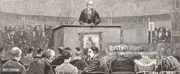 Professor Cayley addressing the British Association Theatre of the Winter Gardens Southport United Kingdom illustration from The Graphic volume...