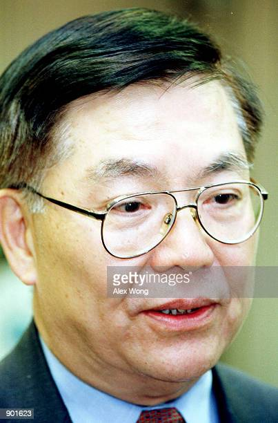 Professor Chang-Lin Tien speaks to reporters after he was sworn in as a National Science Board member at the National Science Foundation building in...