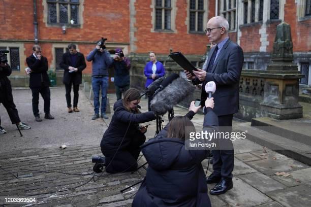 Professor Charlie Jeffrey, The University of York Vice Chancellor makes a statement outside Heslington Hall at York University on February 01, 2020...