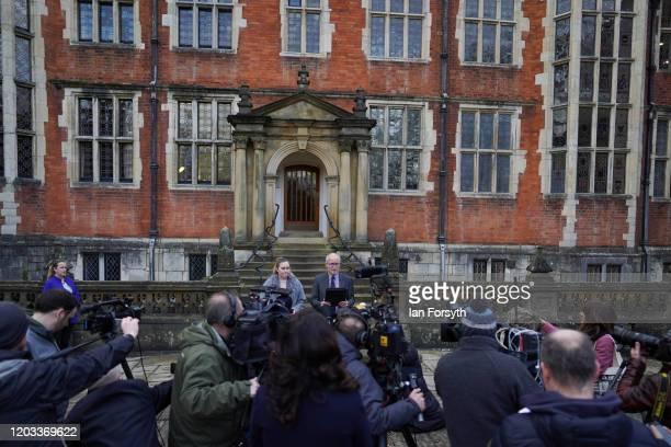 Professor Charlie Jeffrey, The University of York Vice Chancellor and President of the Student Union, Samara Jones make a statement outside...