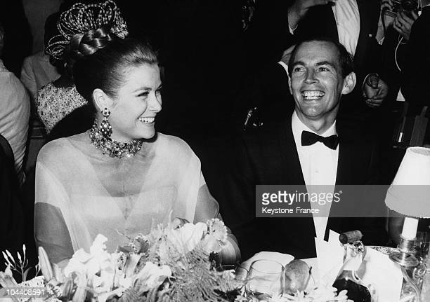 Professor Christian BARNARD a famous South African surgeon and Princess GRACE KELLY attending a charity gala in Monaco organized by the Monacan Red...
