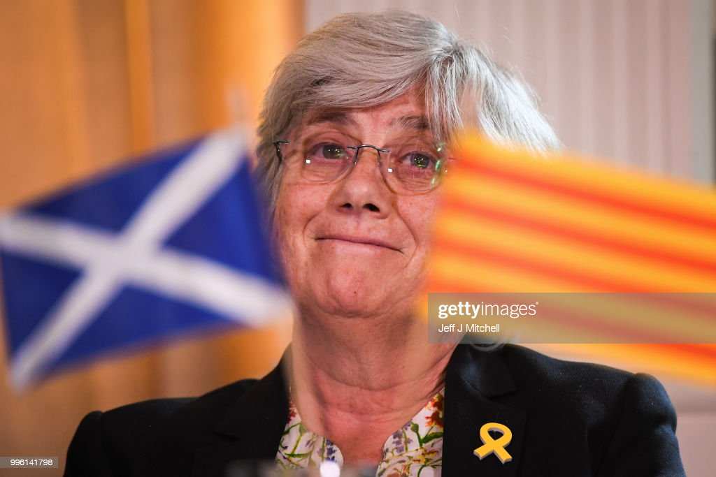 Professor Clara Ponsati attends a press conference with President of the Generalitat of Catalonia Quim Torra, lawyer Aamer Anwar ahead of a meeting with Scotland's First Minister Nicola Sturgeon on July 11, 2018 in Edinburgh, Scotland. Clara Ponsati is wanted by Spanish authorities to face charges relating to last year's Catalan independence bid. She faces up to 33 years in prison for charges including violent rebellion and misappropriation of public funds.